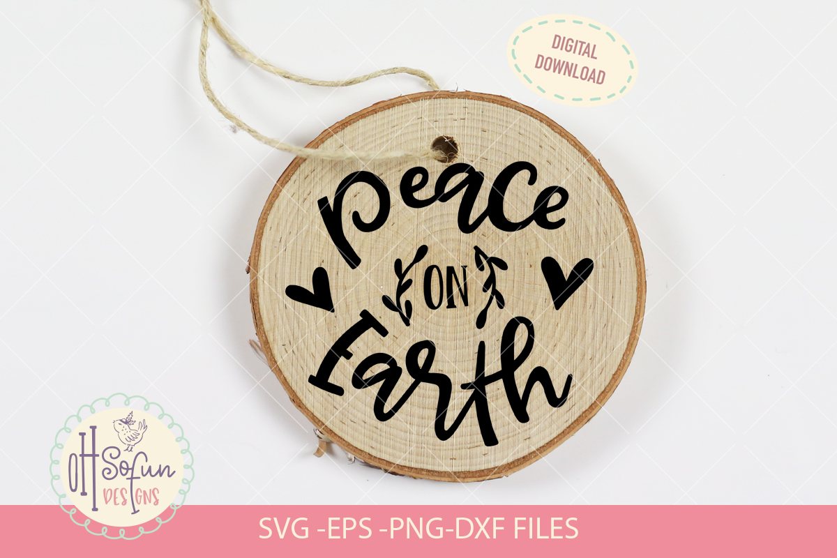 Peace on earth, hand lettering Christmas ornament SVG example image 1