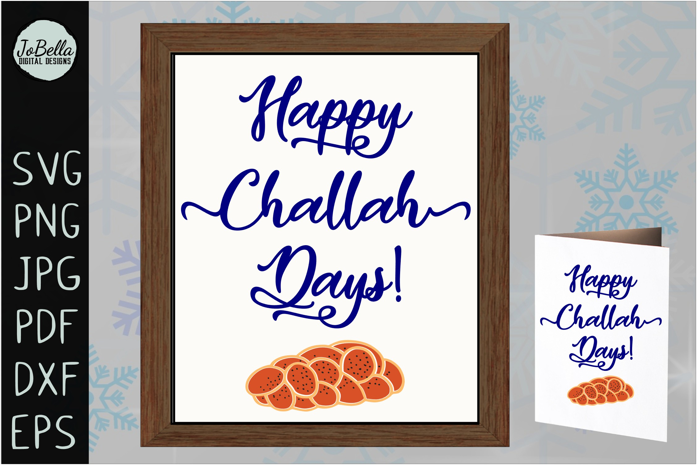 Challah Happy Hanukkah SVG, Printable and Sublimation PNG example image 2