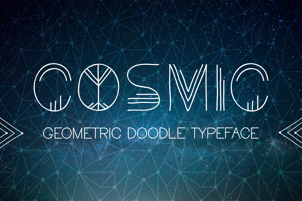Cosmic. Doodle geometric font example image 1
