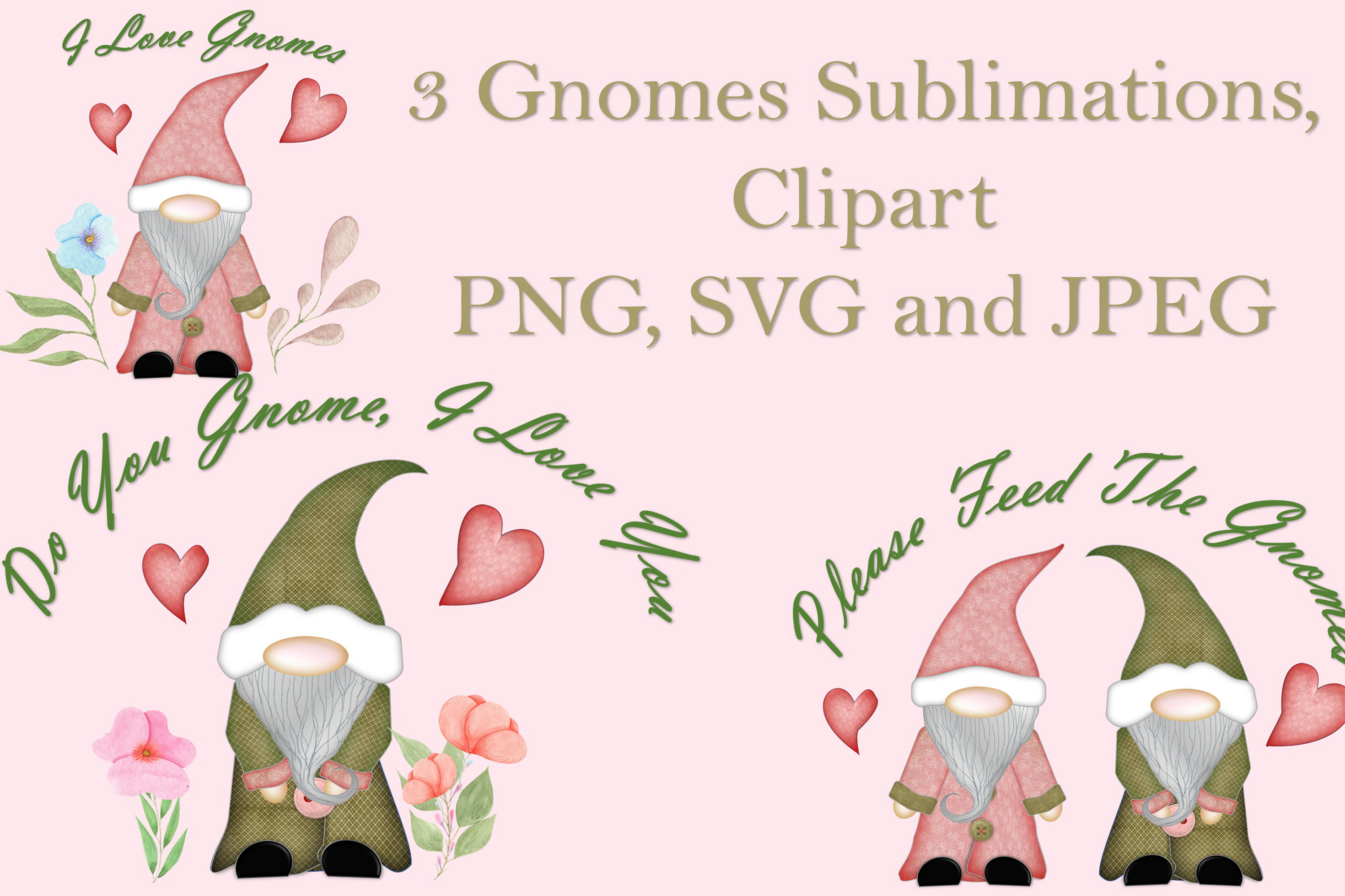 Scandinavian Gnomes Clipart, Sublimation, PNG, SVG and JPEG example image 1