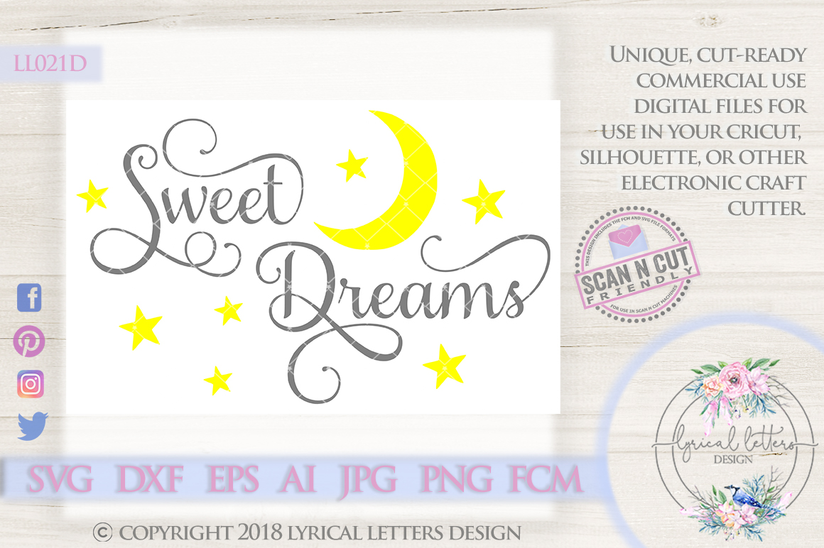 Sweet Dreams with Moon and Stars SVG Cut File LL021D example image 1