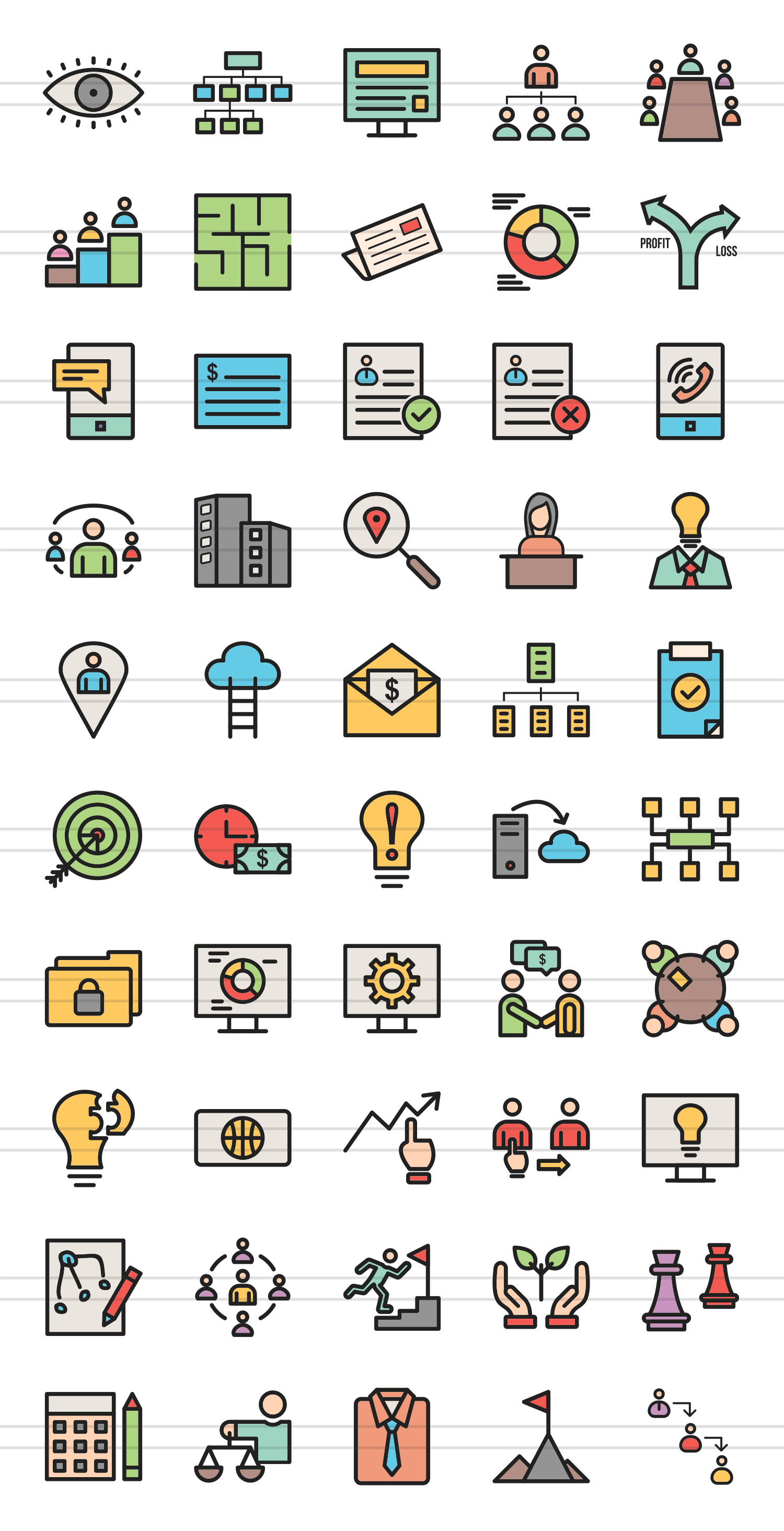 50 Business Administration Linear Multicolor Icons example image 2