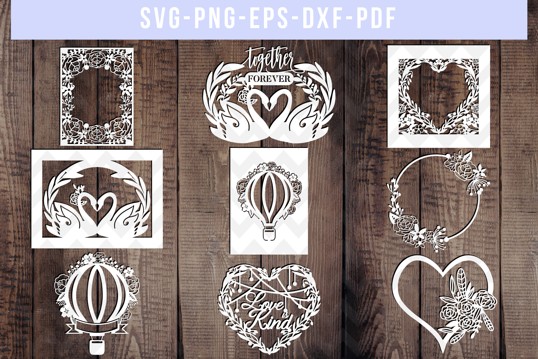 Bundle Of 9 Floral Wedding Papercut Templates, SVG, DXF. PDF example image 1