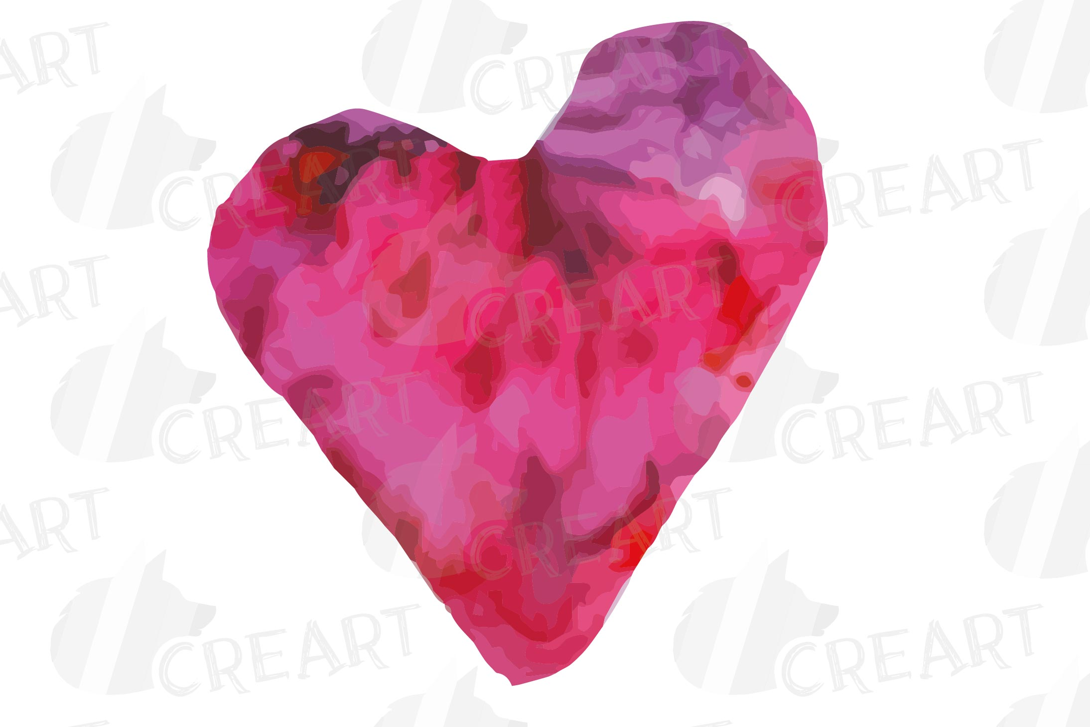 Watercolor little hearts clip art, colorful Valentine example image 9