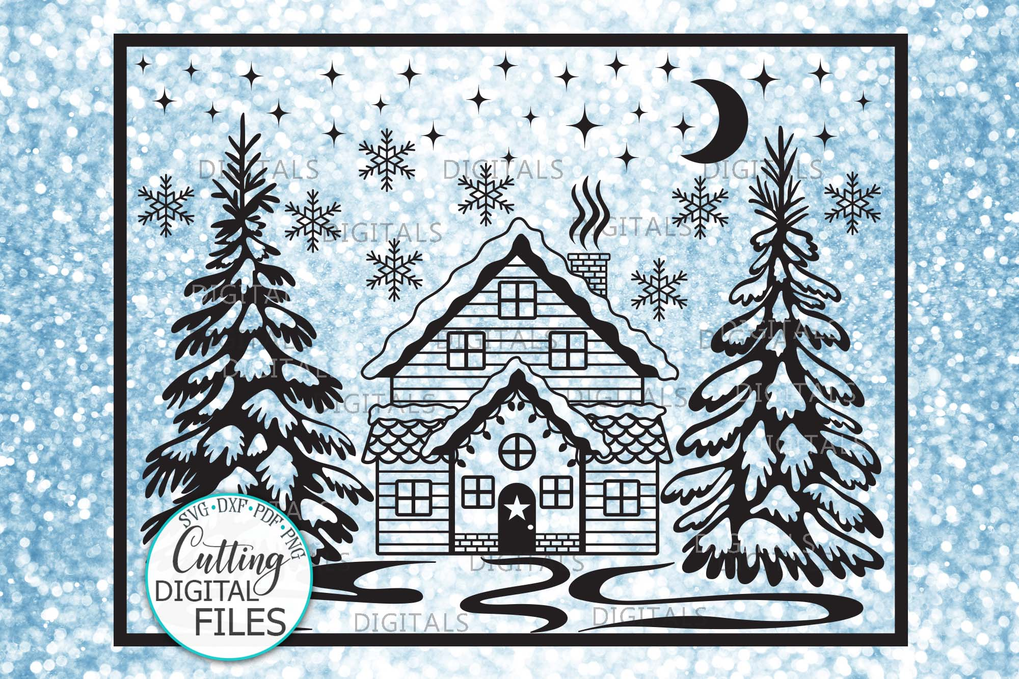 Winter Christmas House Scene Landscape with Trees svg cut example image 1