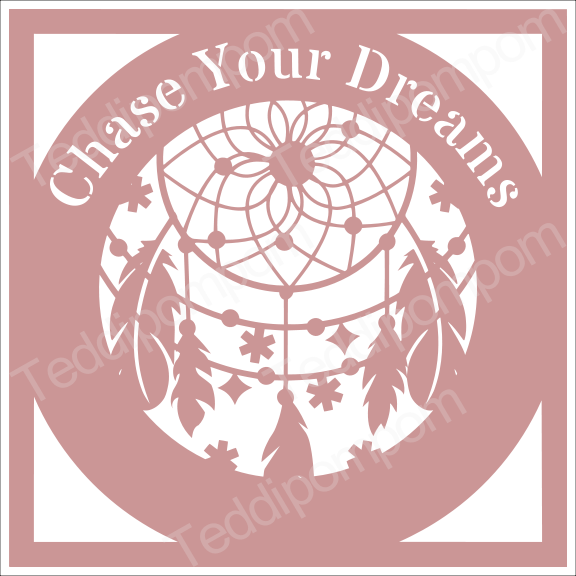 CHASE YOUR DREAMS DREAMCATCHER SVG Papercut Frame, cricut silhouette svg Papercutting, Card Making,Digital Upload example image 1