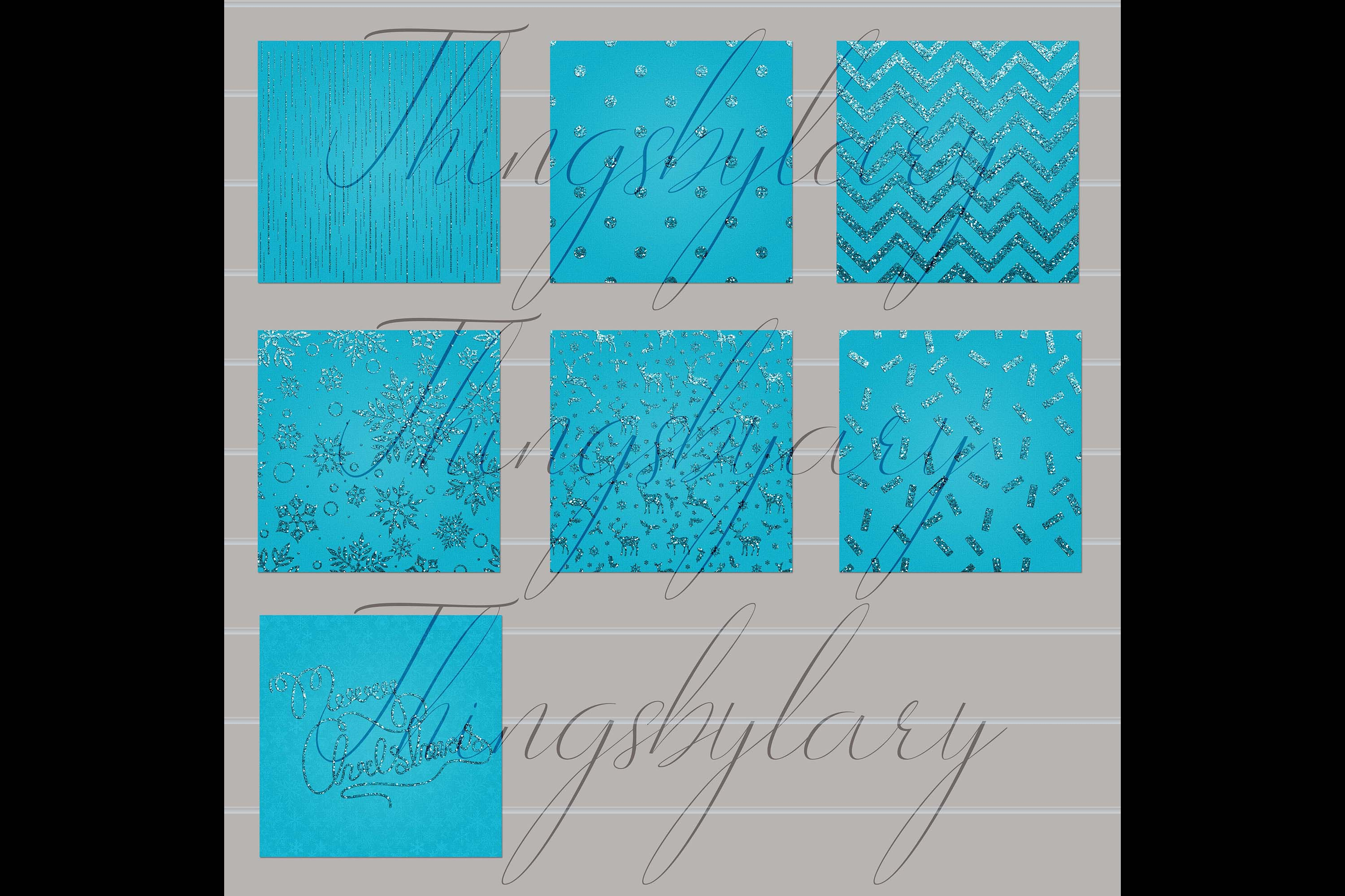 16 Blue Glitter Christmas Printable Digital Papers 12 inch example image 7