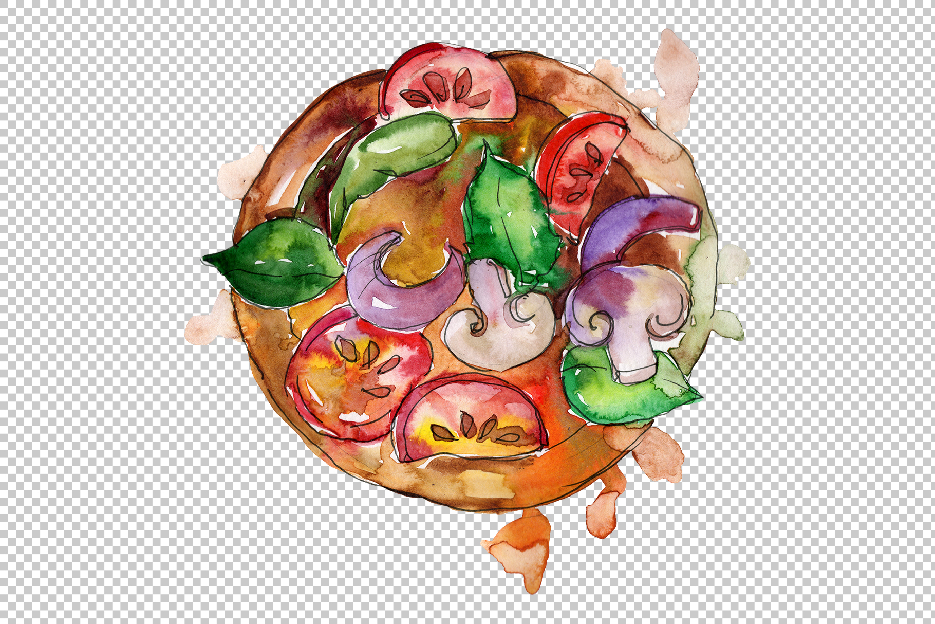 Pizza Margherita watercolor png example image 6