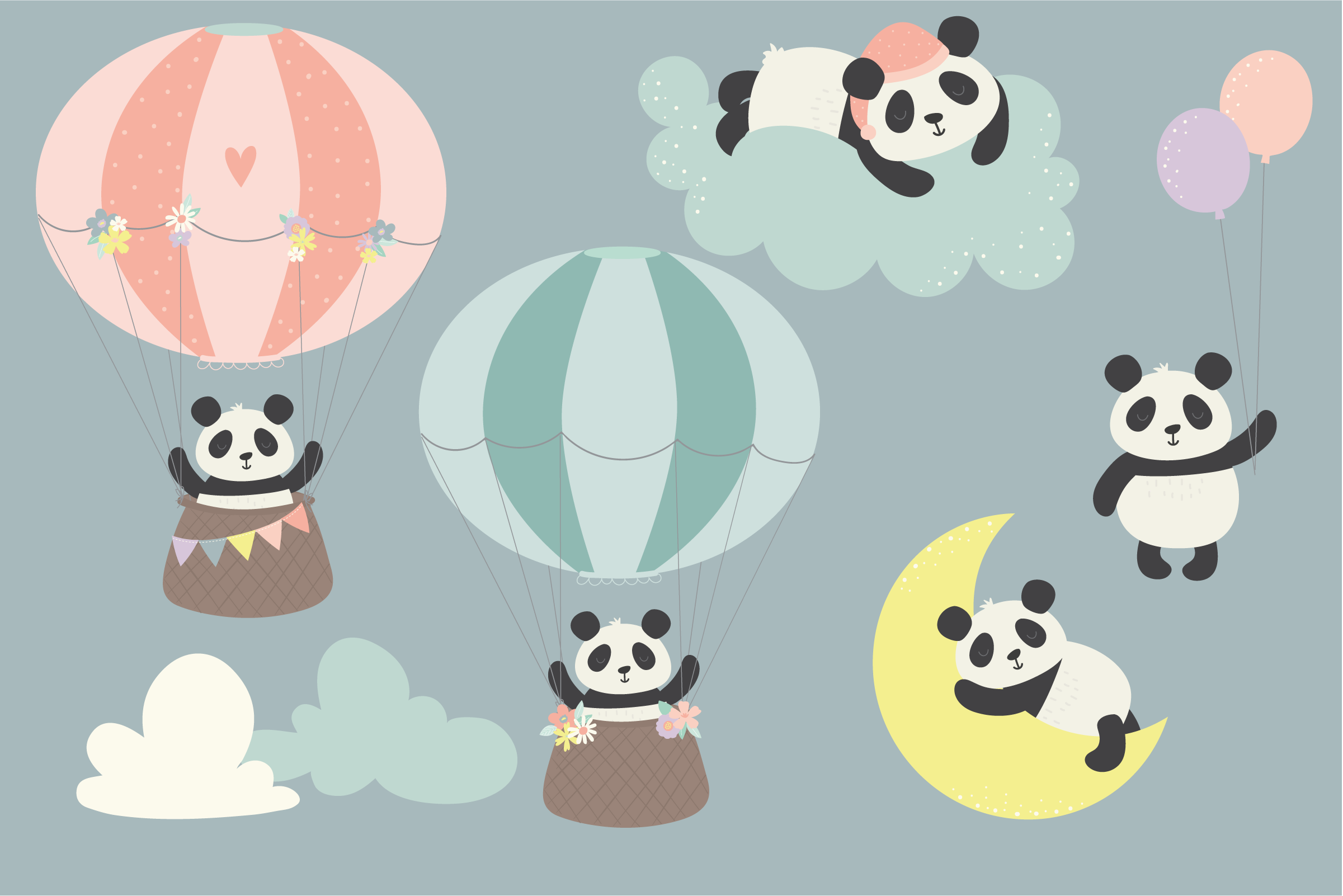 Sweet Dreams Panda, clipart and paper pack example image 2