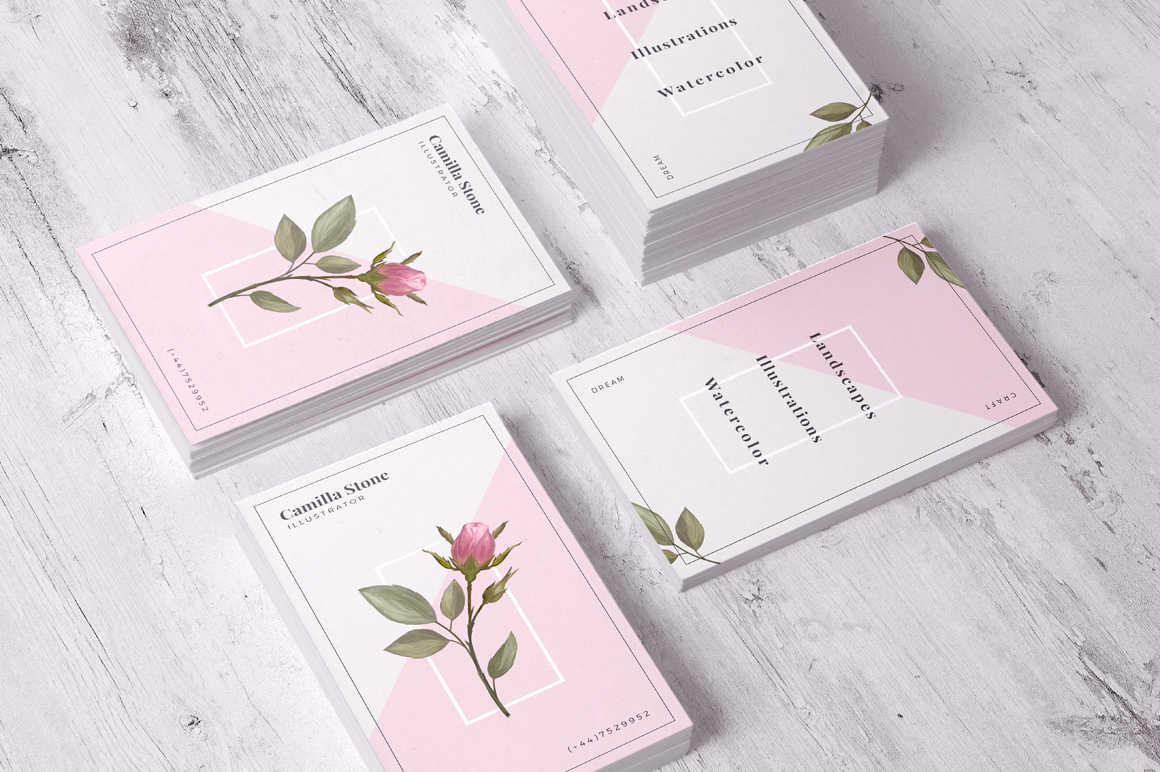 Pink Rose Business Card Template example image 5