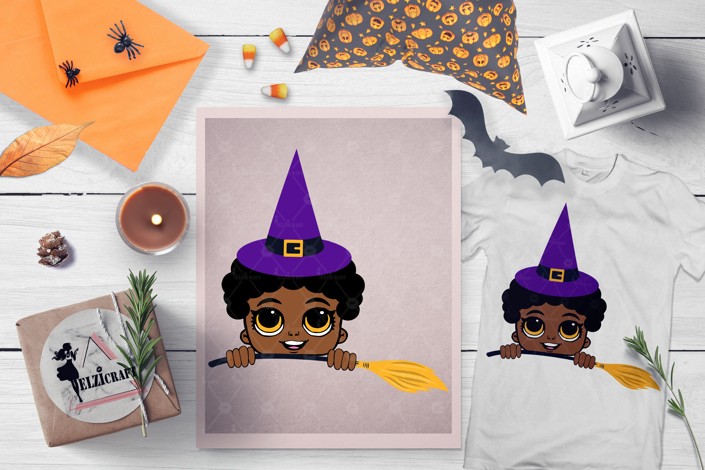 Halloween Peeking Witch Afro Boy Broom SVG Cut File example image 1