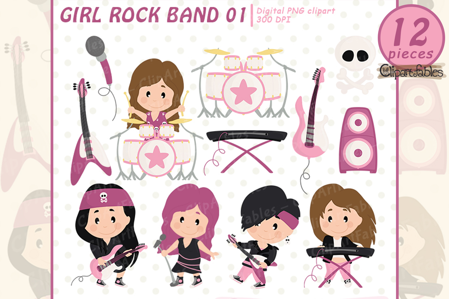 GIRL Rock Star clipart, Music clip art - INSTANT download example image 1