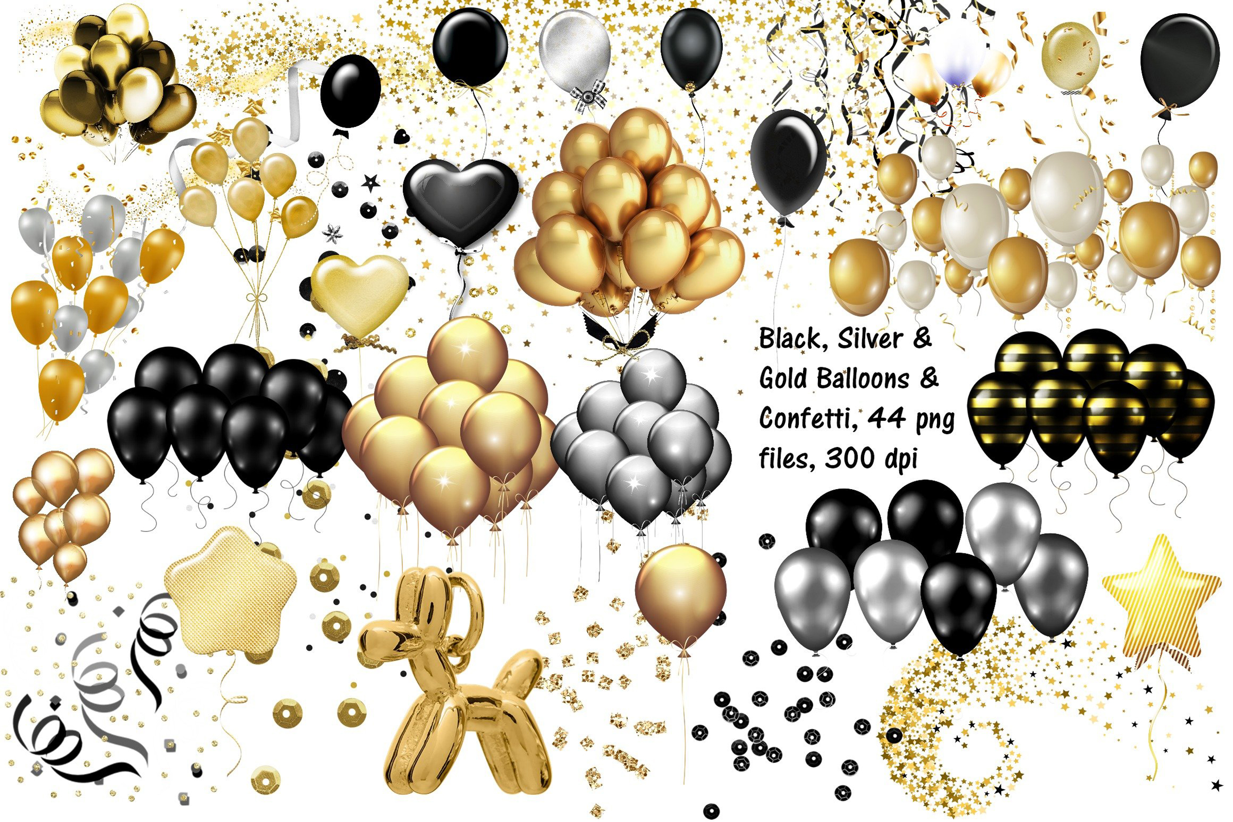 Gold. Black and Silver Balloons and Confetti Clip Art example image 1