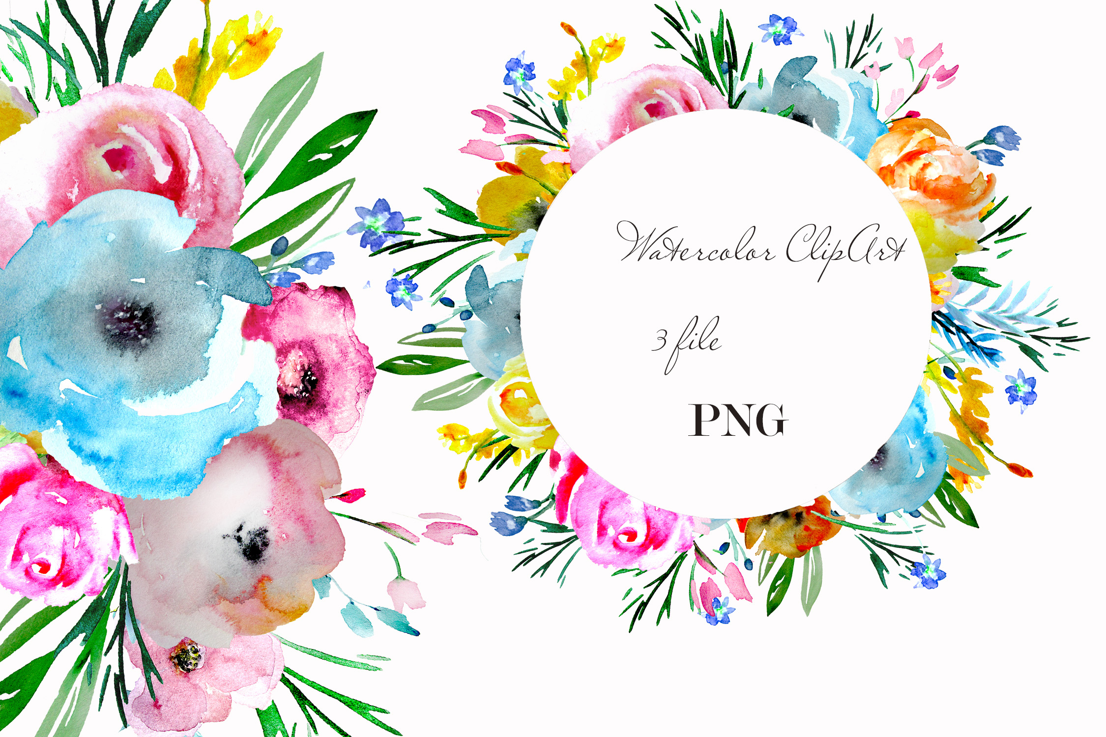 Brigt flowers watercolor clipart sprig floral desin cards example image 1