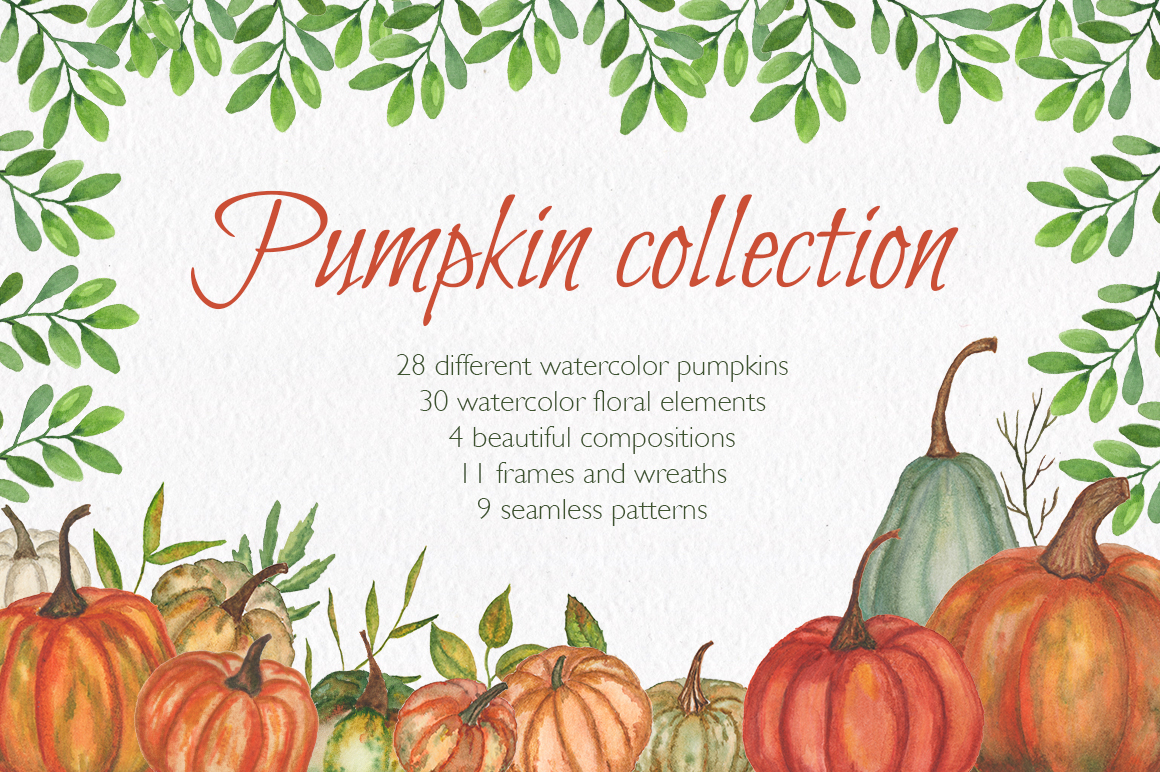Pumpkin collection. Watercolor clipart. example image 1