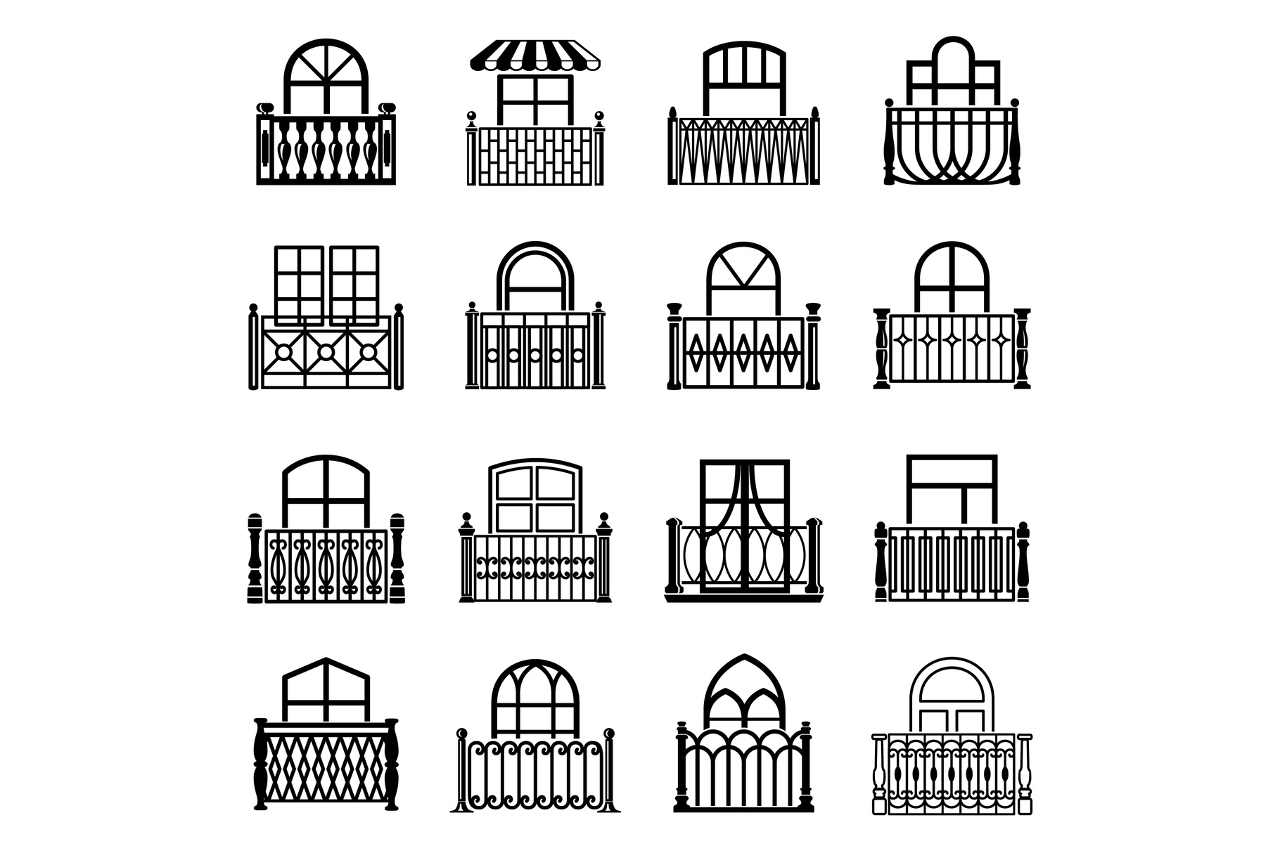 Balcony window icons set, simple style example image 1
