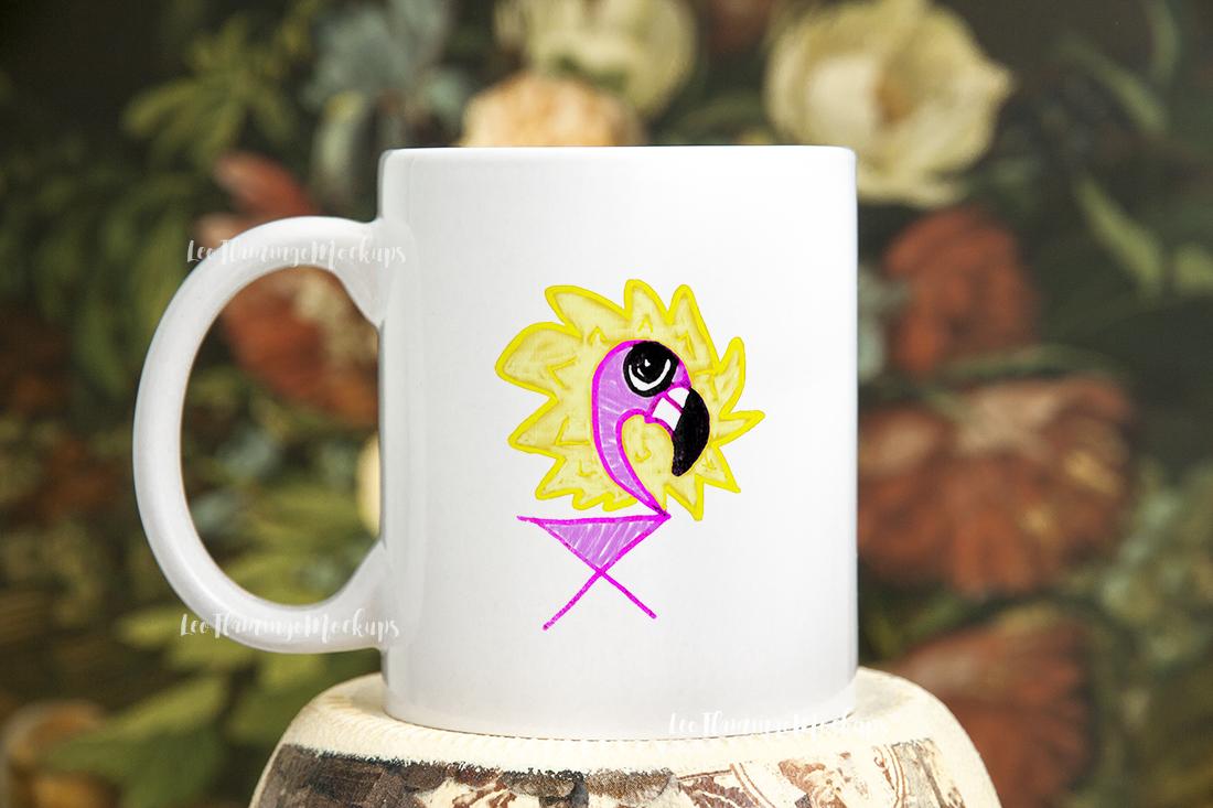 White coffee mug mock up rustic  example image 3
