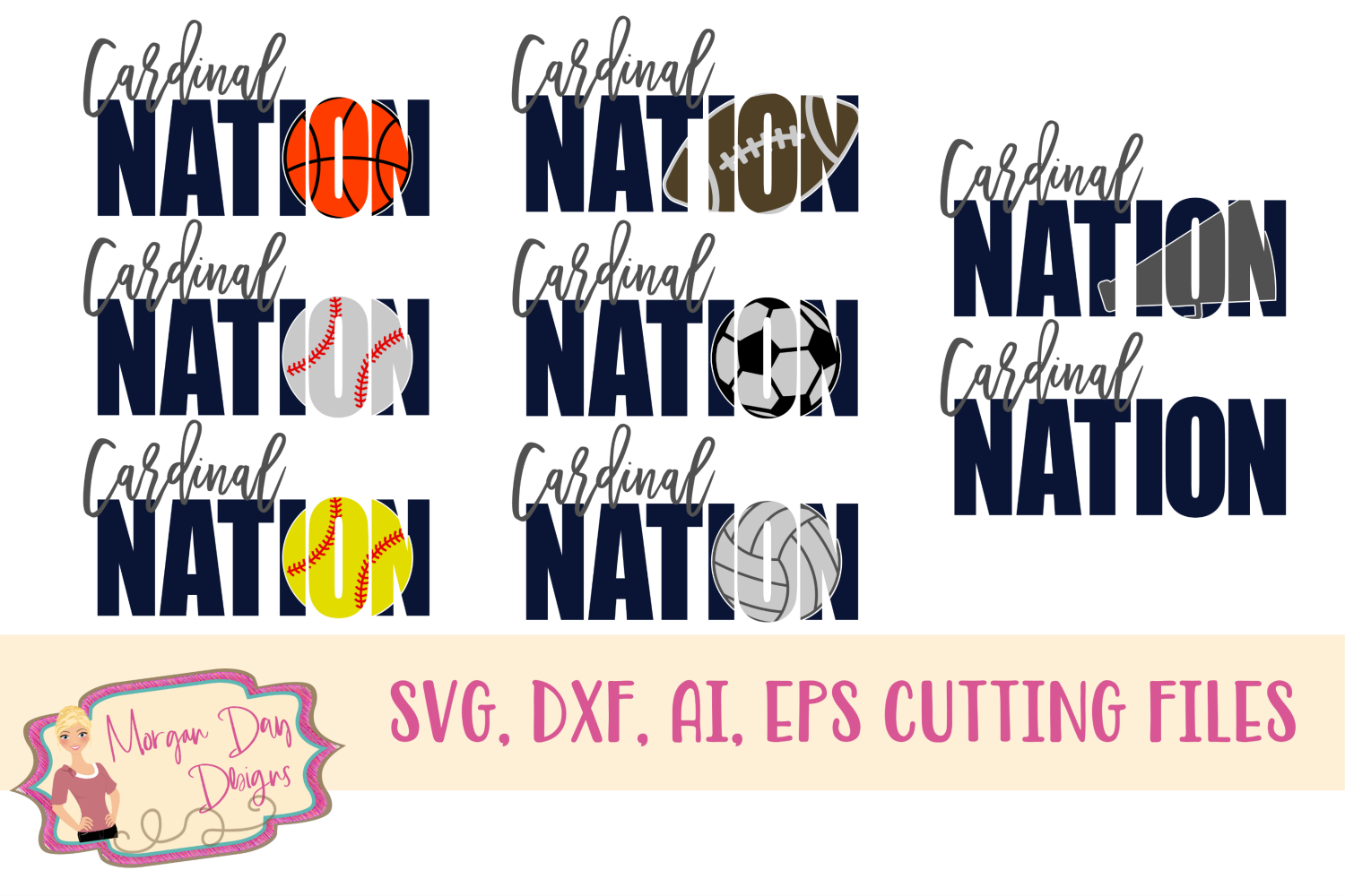 Cardinal Nation SVG, DXF, AI, EPS example image 1