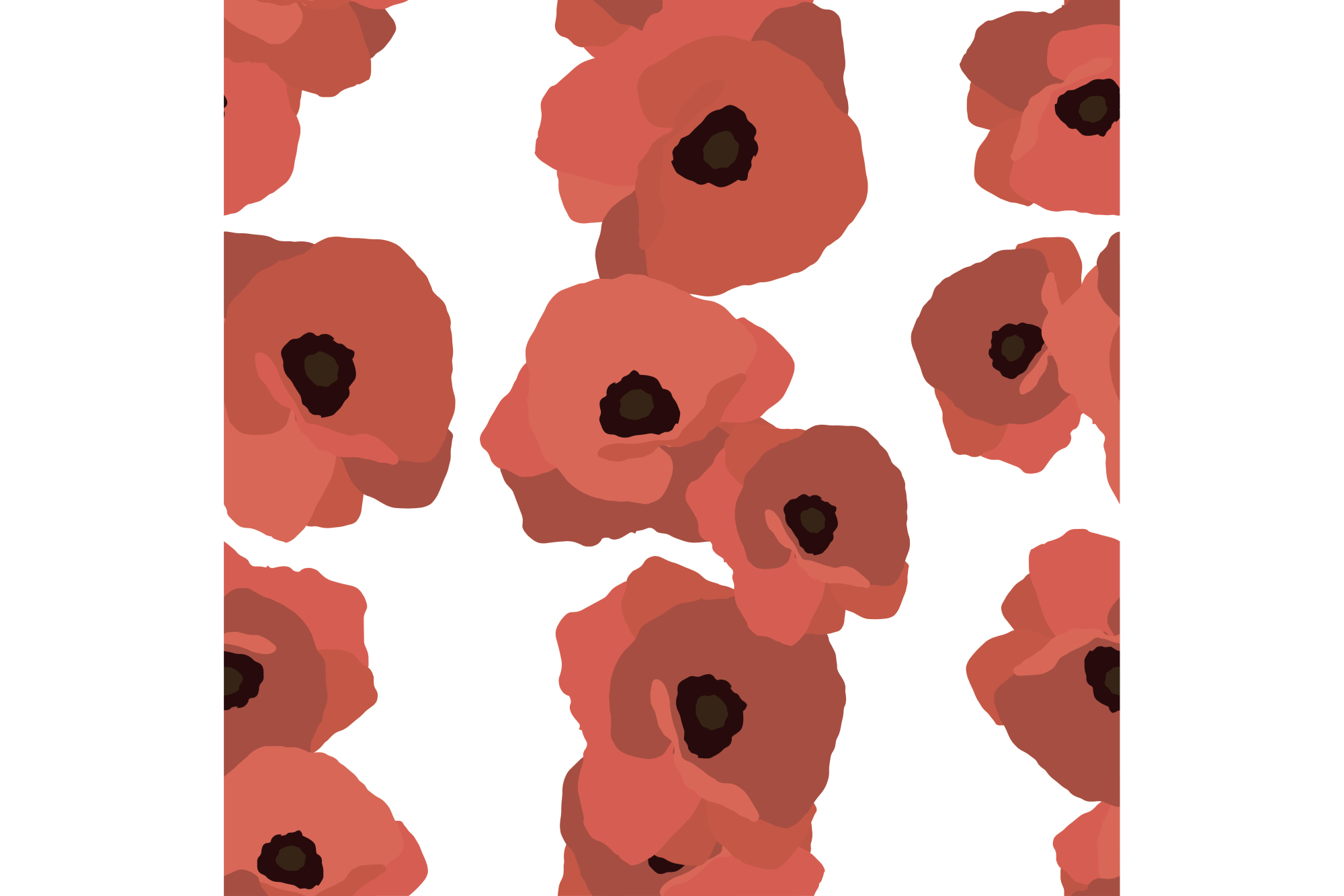 Seamless vector background with decorative red poppies. example image 1