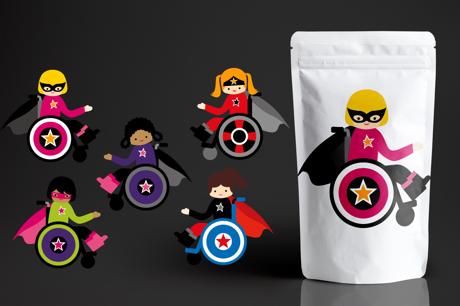 Superhero kids in wheelchairs - Disability Graphics Bundle example image 4