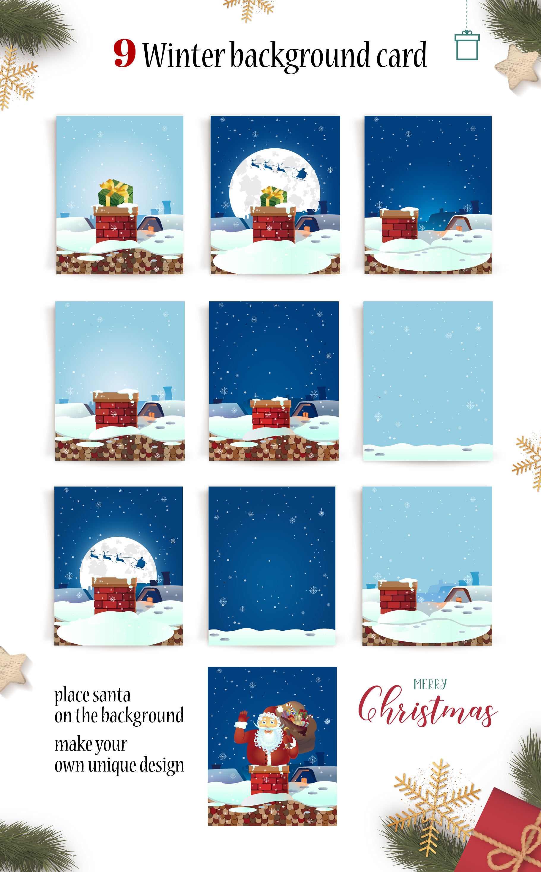 Happy Santa Merry Christmas Set vector collection example image 3