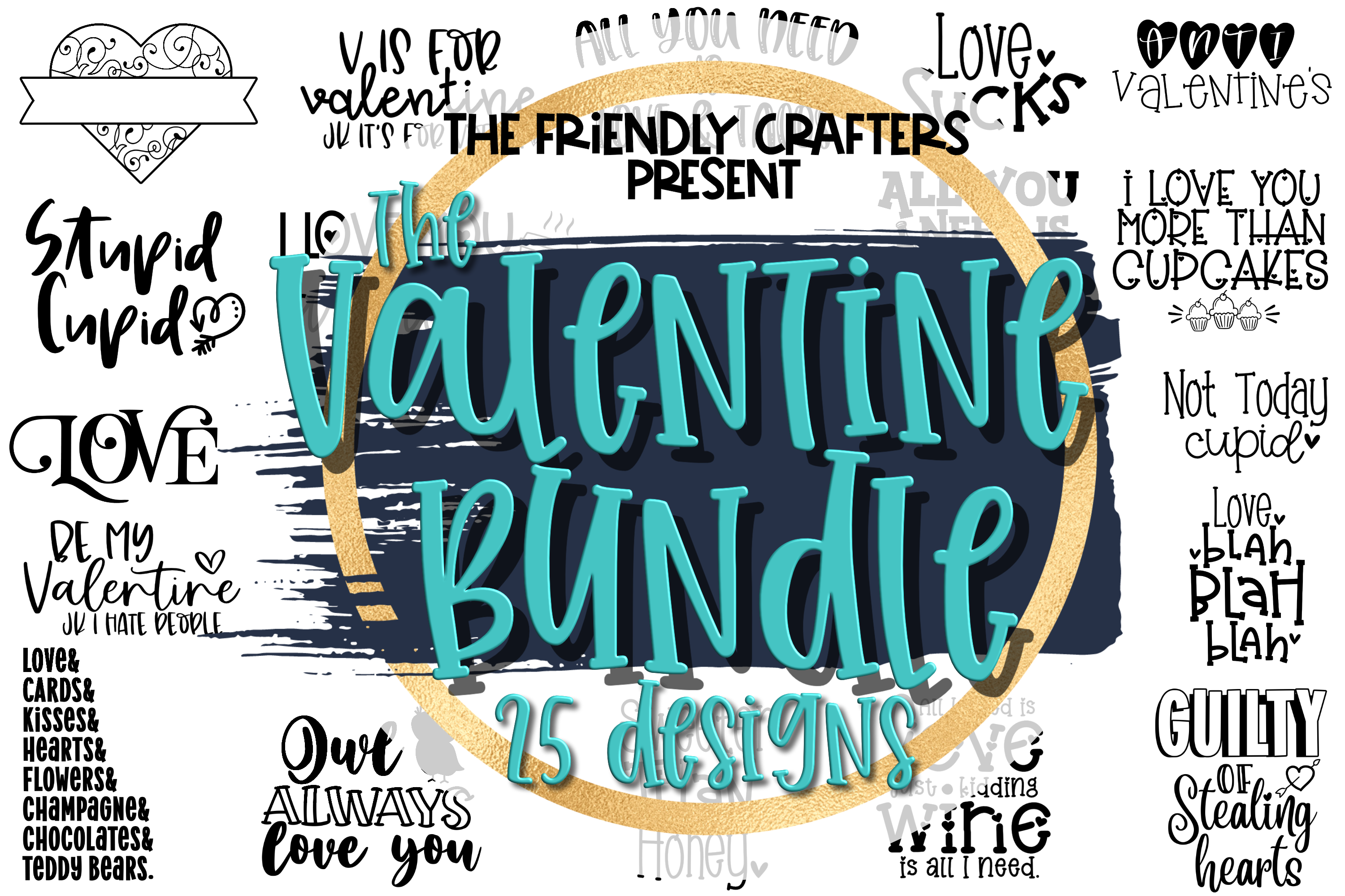 Valentine's Day Bundle - A Bundle of 25 Valentine SVGs example image 1