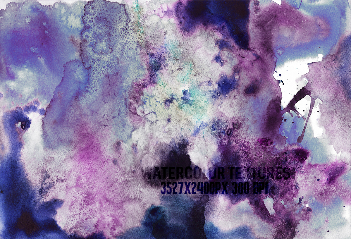 8 Purple watercolor textures, HQ 3527x2400px 300 DPI JPG example image 5