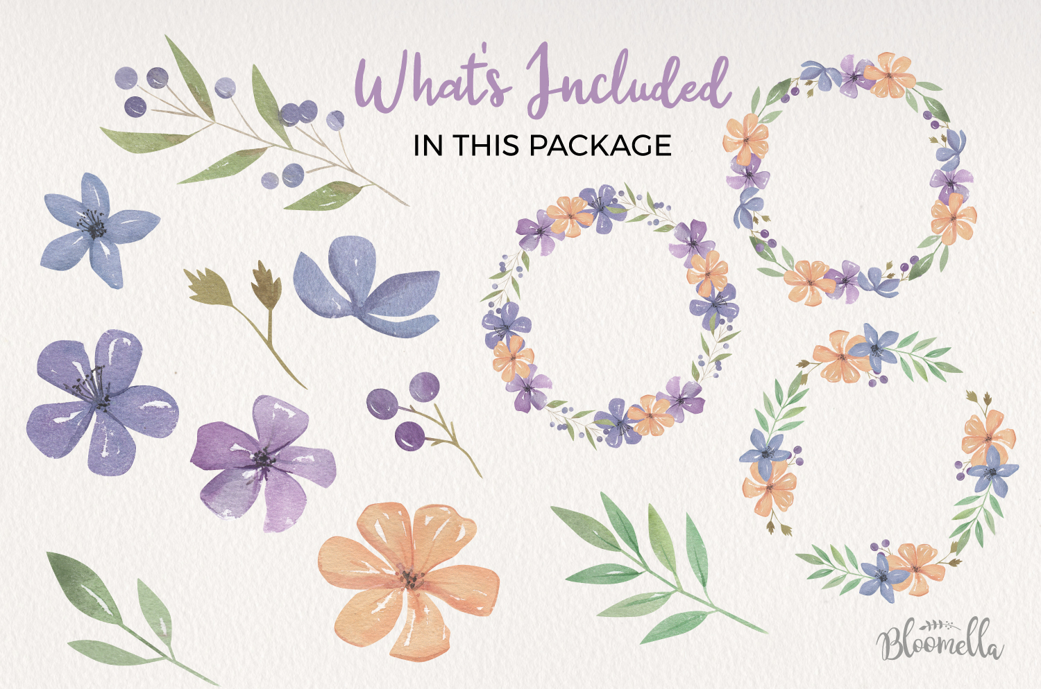Valley Floral Watercolor Elements & Wreaths example image 4