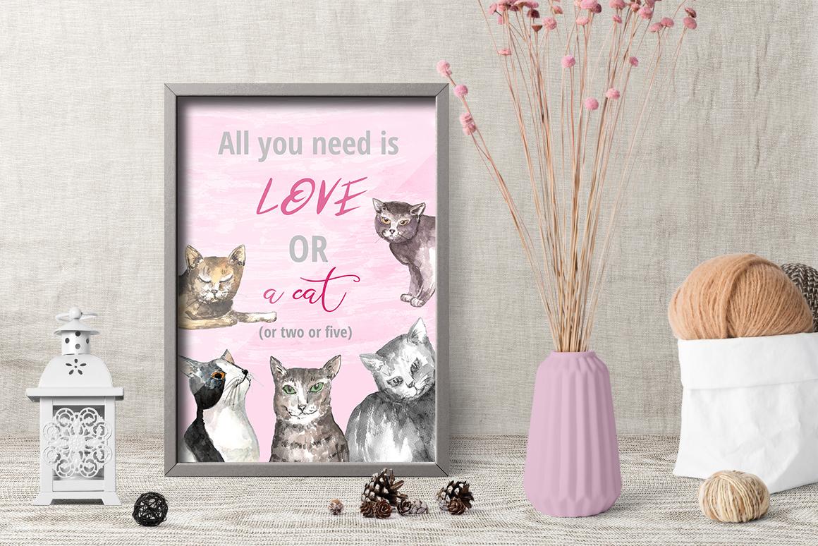 Warm Winter Kitties - watercolor example image 2