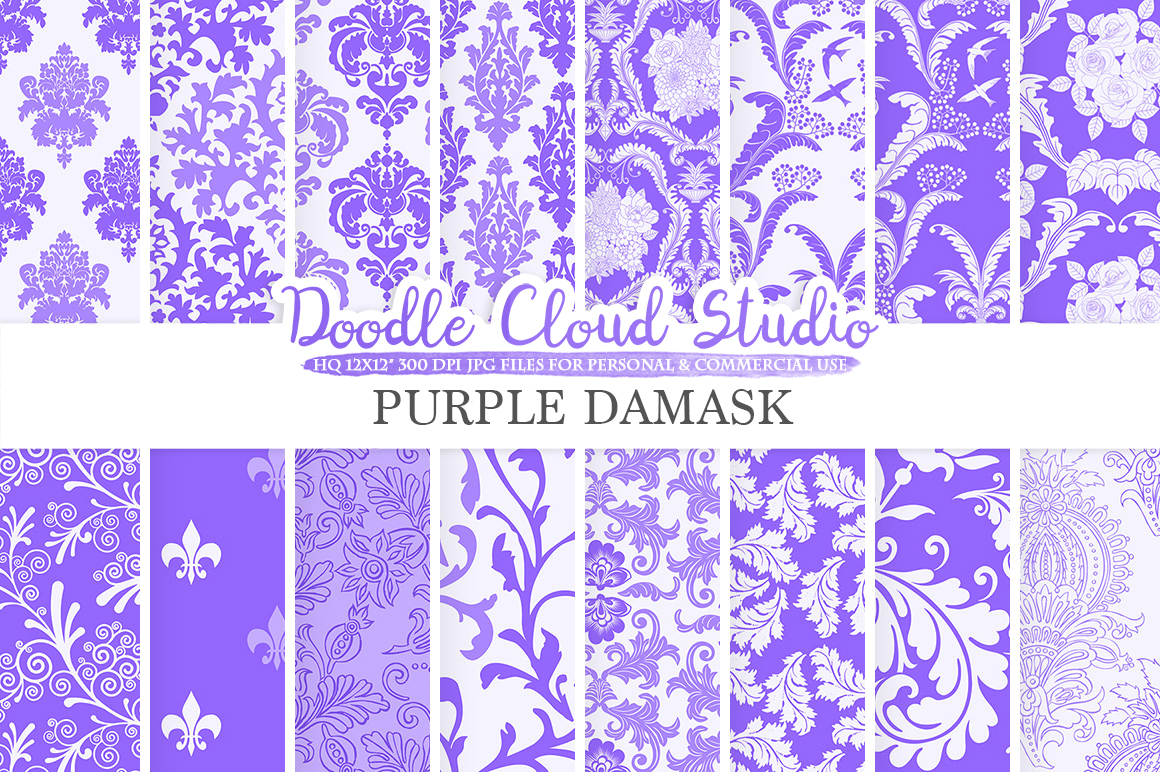 Purple Damask digital paper, Swirls patterns, Digital Floral Damask Violet Lilac Mauve background Instant Download Personal & Commercial Use example image 1