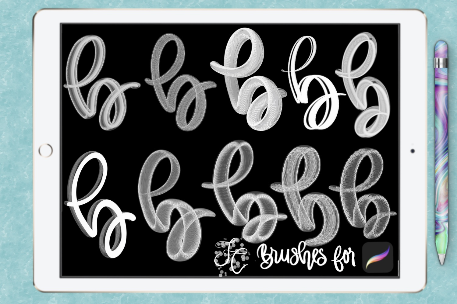 FC-funky lettering set 1 for PROCREATE example image 2