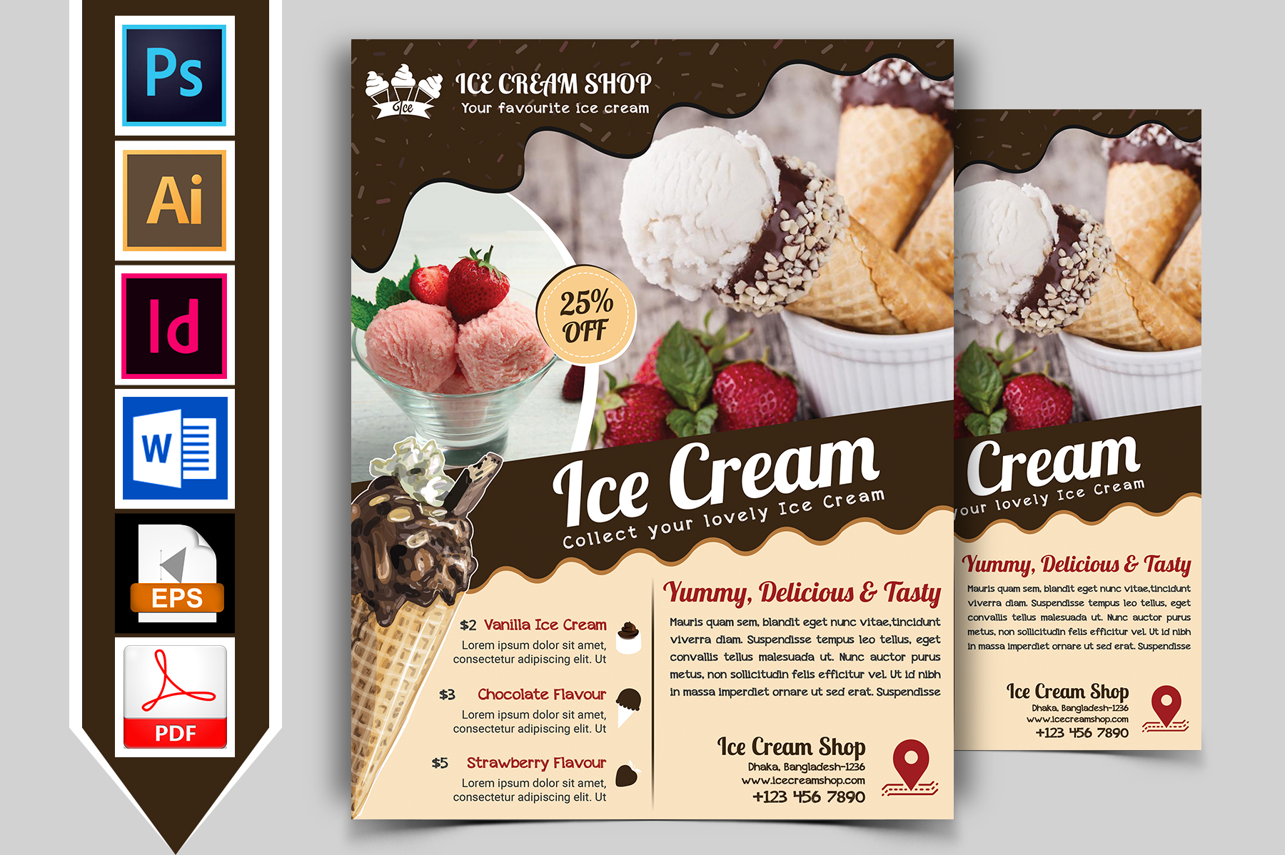 Ice Cream Shop Flyer Template Vol-03 example image 1