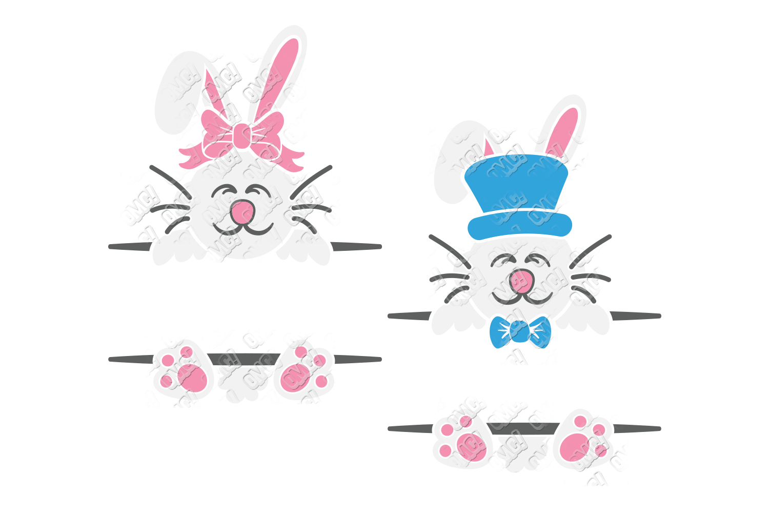 Split Easter Bunny SVG in SVG, DXF, PNG, JPG, EPS example image 2
