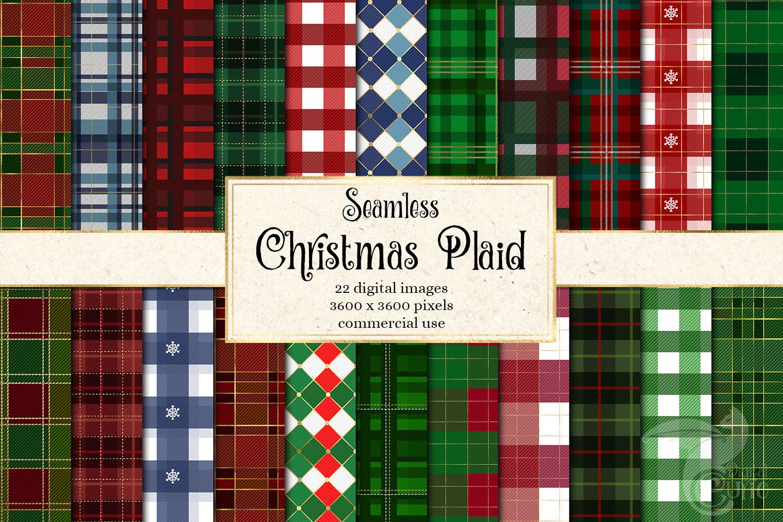 Christmas Plaid Digital Paper example image 1