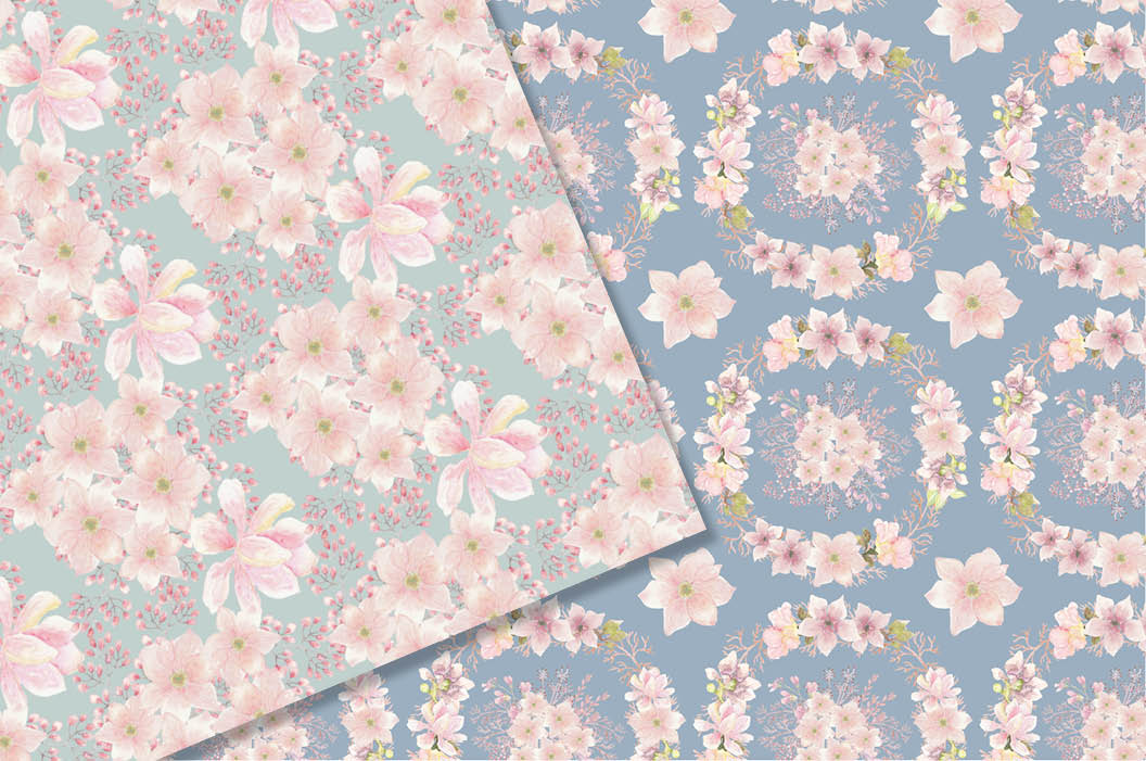 Watercolor patterns: blush Magnolias example image 3