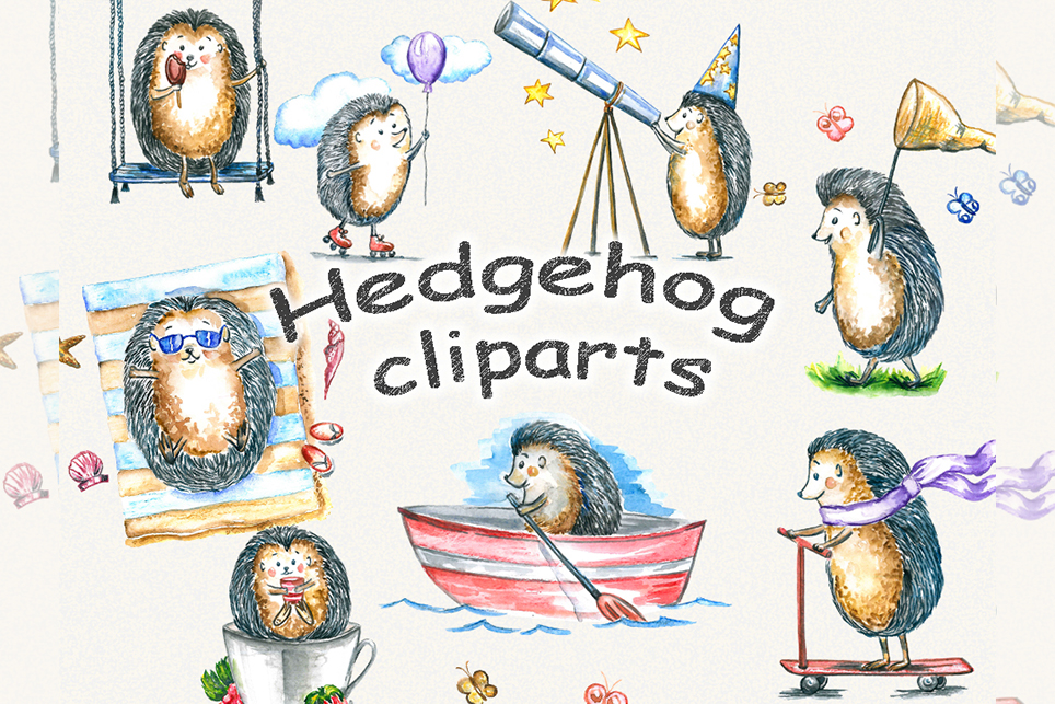 Hedgehog clipart, watercolor clipart example image 1