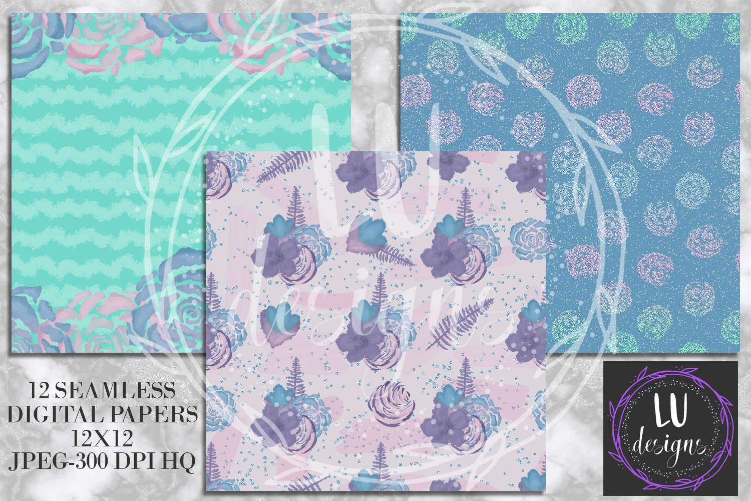 Winter Flowers Digital Papers, Winter Backgrounds example image 4