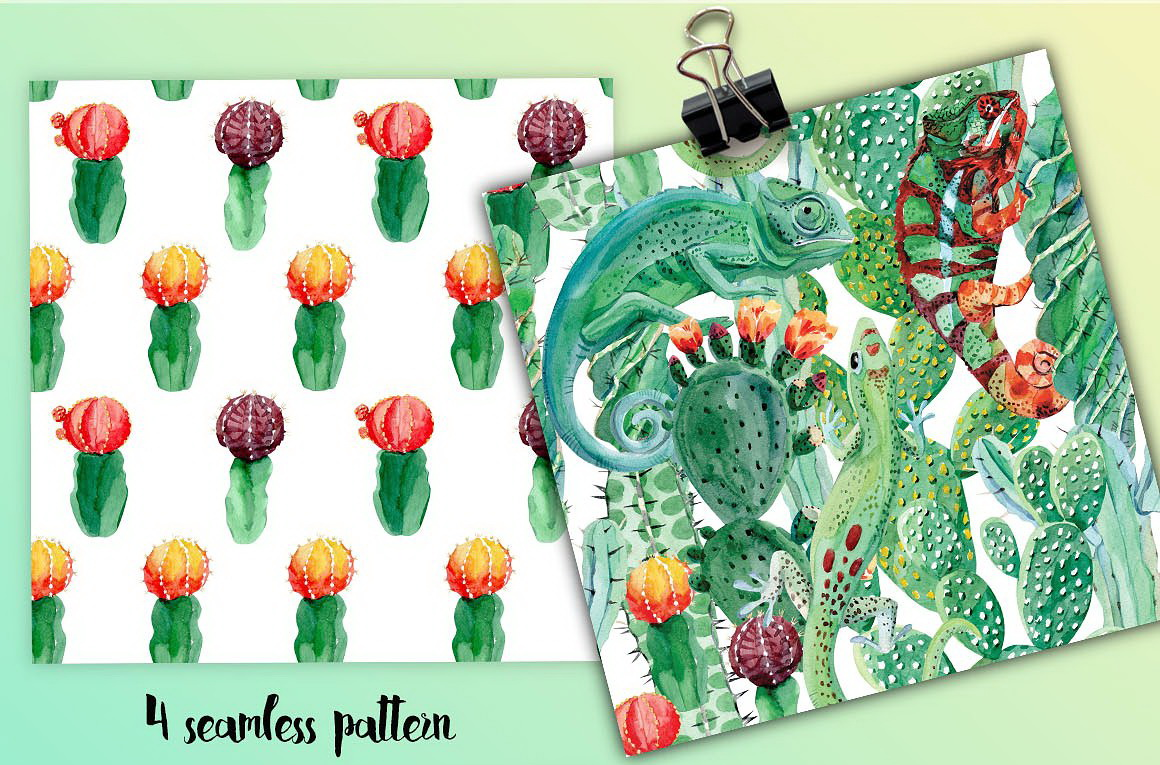 Chameleon and cactus. Watercolor set example image 3