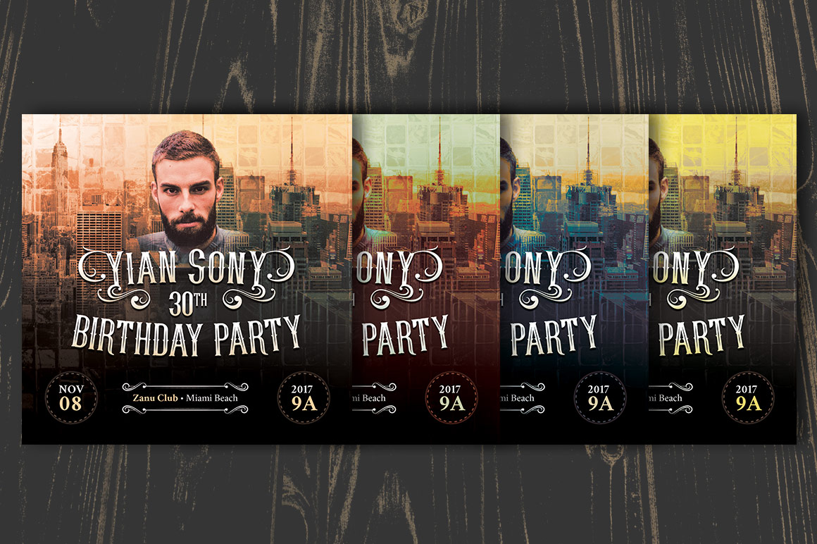 Hipster Small Birthday Party Flyer Template example image 6