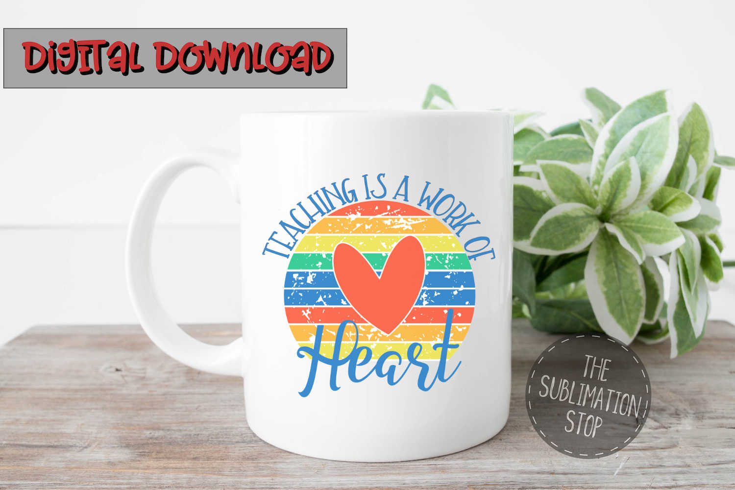 Teaching Is A Work Of Heart - PNG File - Sublimation Design example image 2