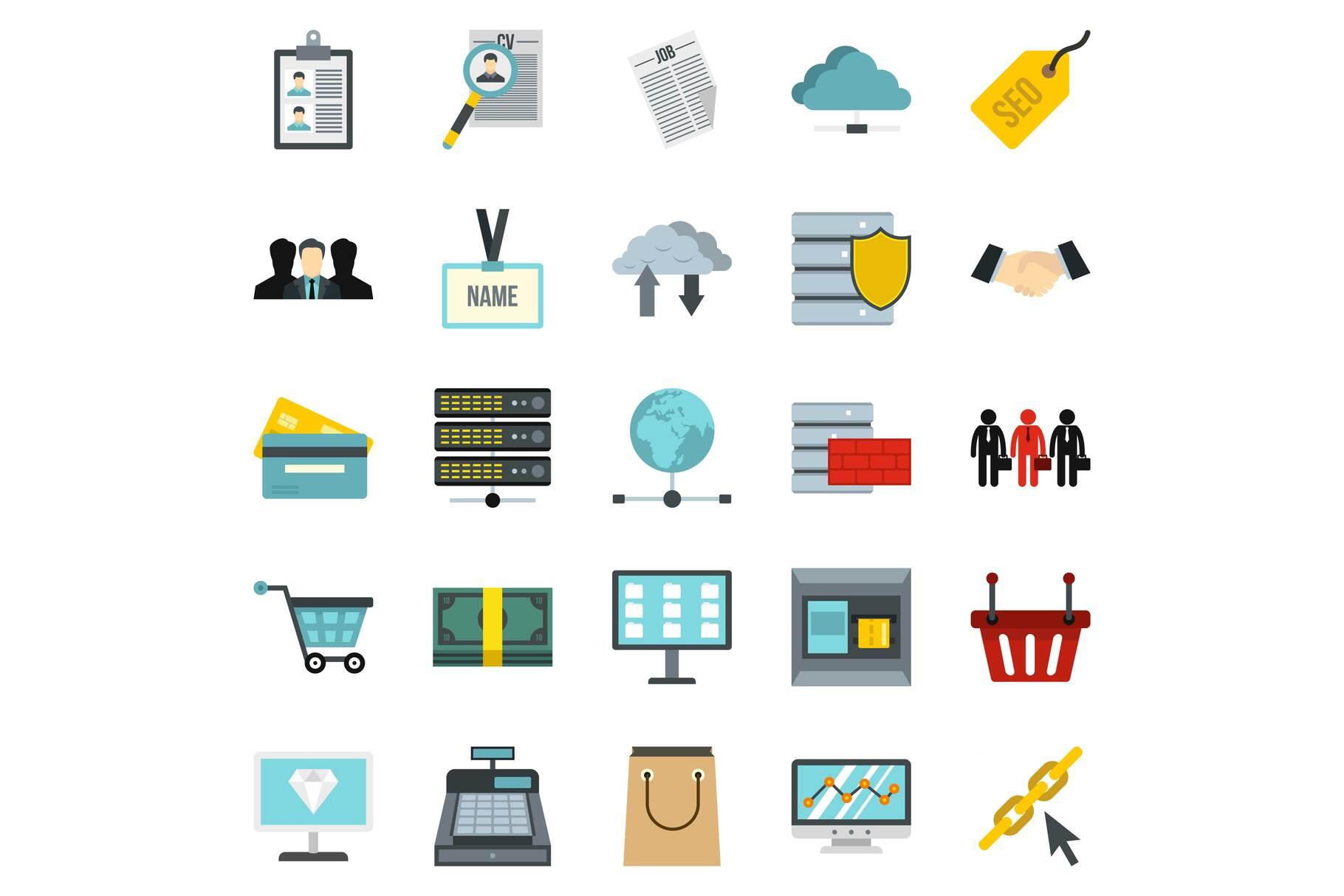 Safe deposit icons set, cartoon style example image 1
