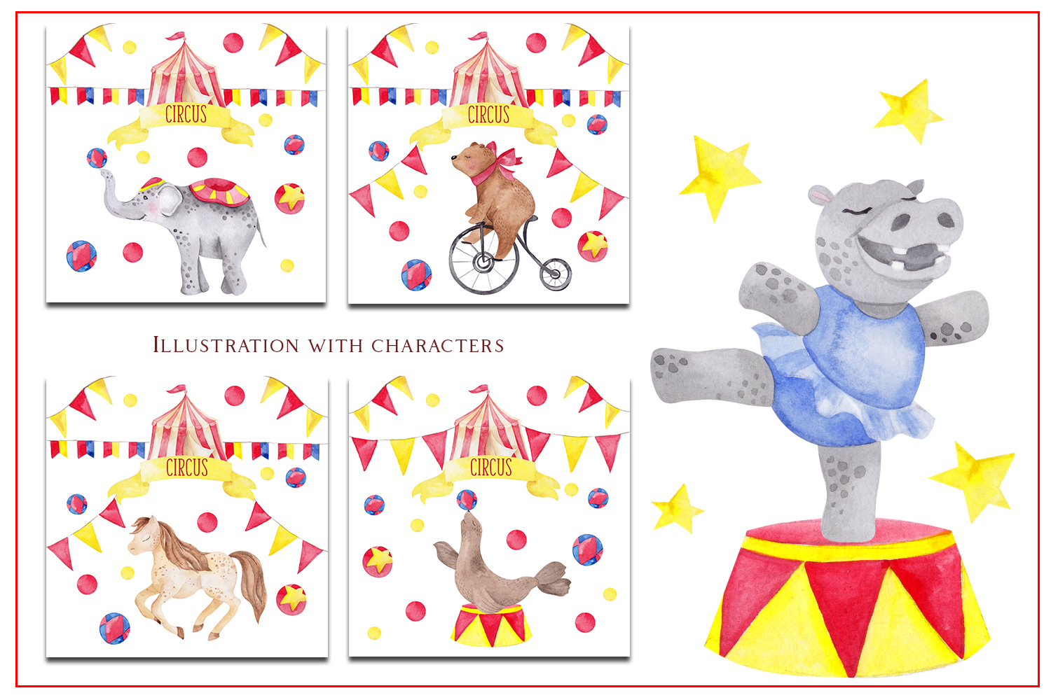 Circus. Watercolor clipart example image 6