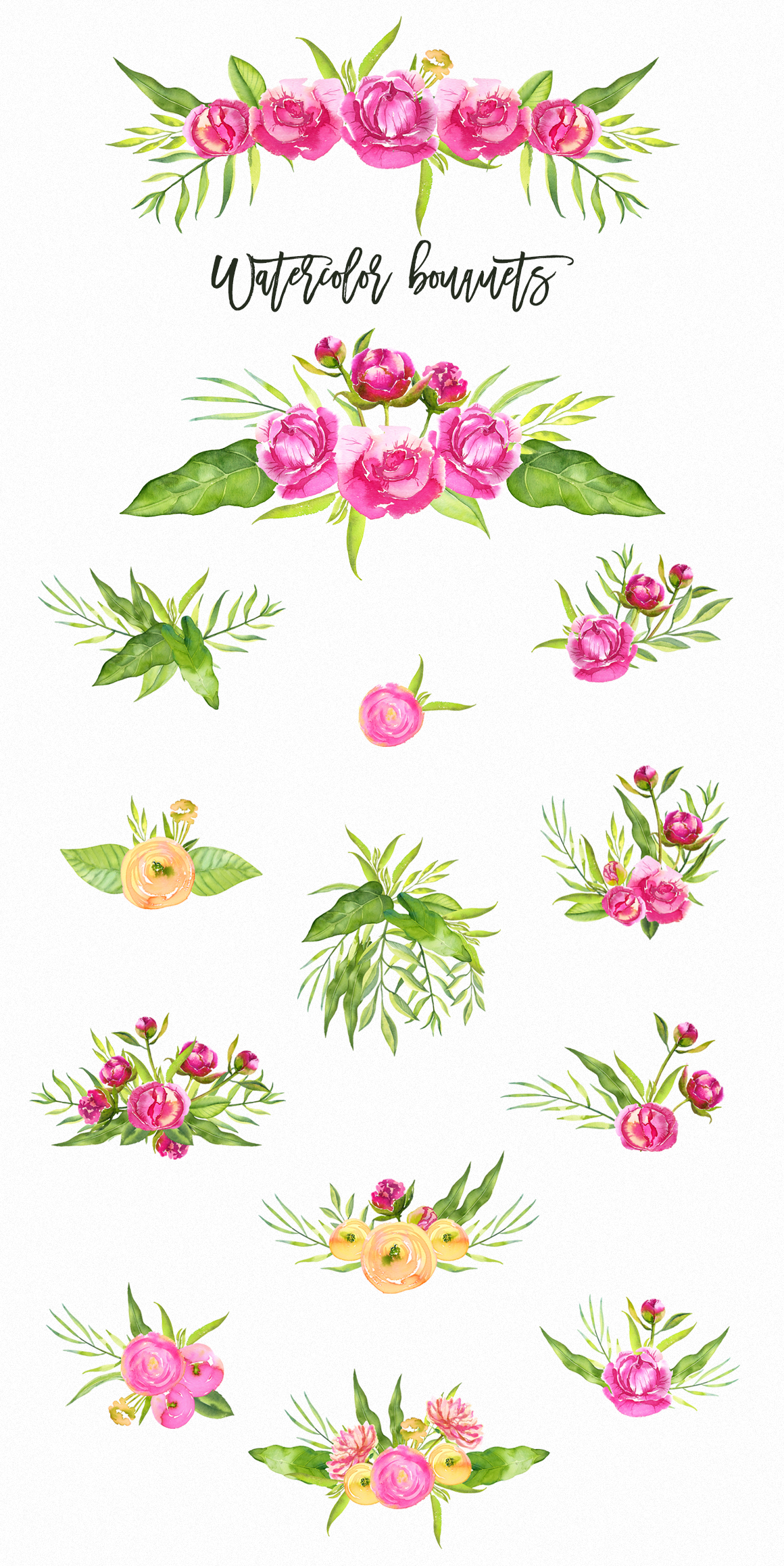 Watercolor Bright Peonies & Twigs example image 3