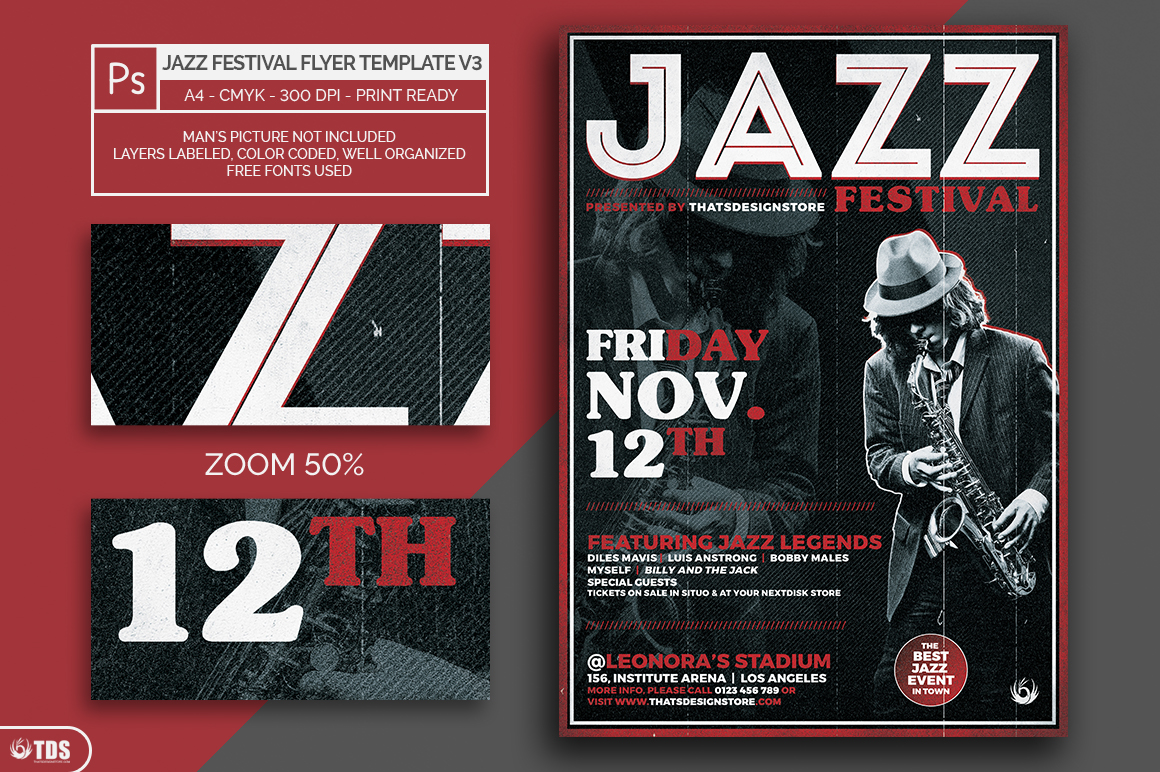 Jazz Festival Flyer Template V3 example image 2