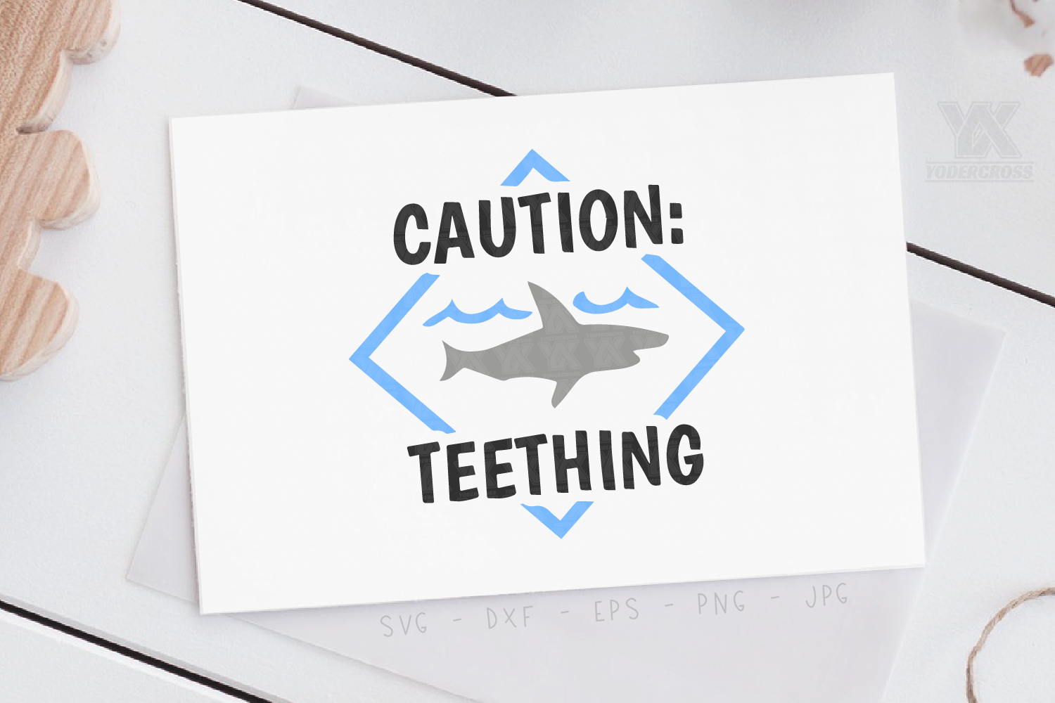 Caution Teething Shark SVG example image 2