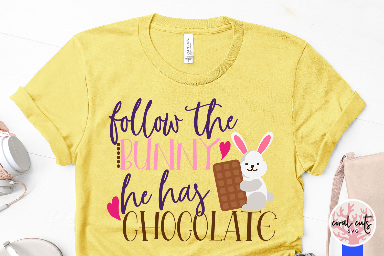 Follow the bunny he has chocolate - Easter SVG EPS DXF PNG example image 3