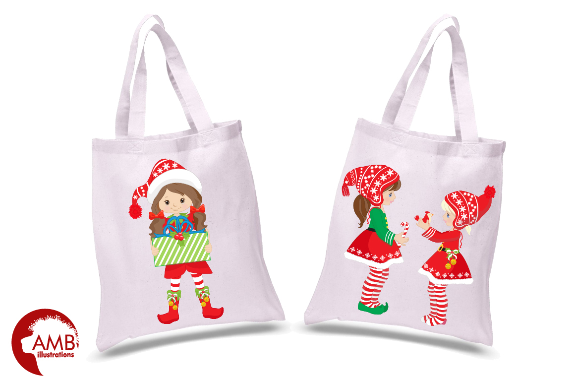 Christmas Girls, winter girls clipart, graphics, illustrations AMB-1519 example image 2