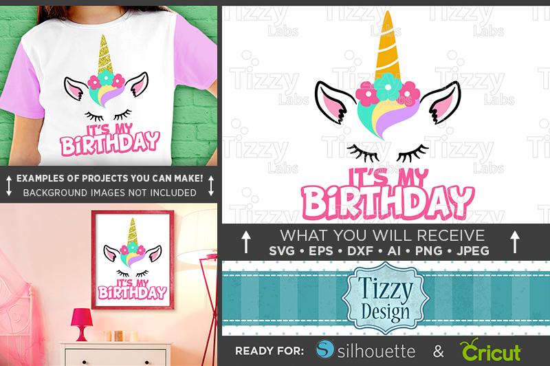 Its My Birthday Unicorn Glitter Shirt Design SVG File - 1059 example image 1