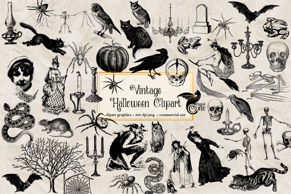 Vintage Halloween Clipart example image 1