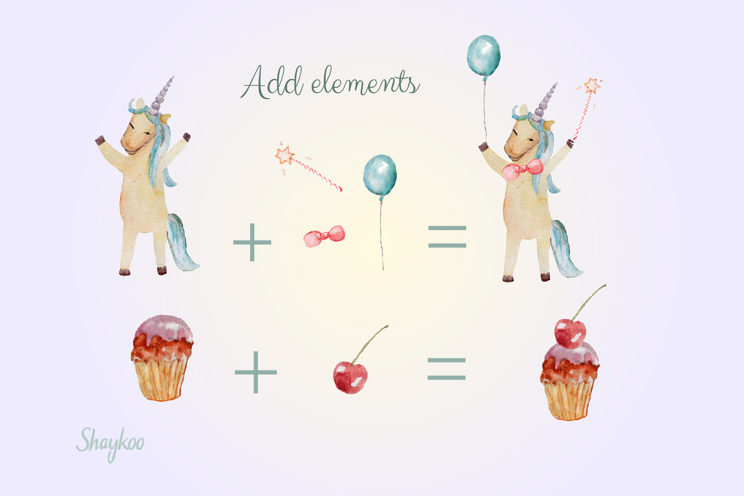 Unicorn Party Clipart, Watercolor Baby Unicorn Clipart example image 2